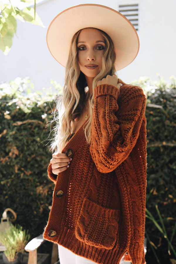 Bolsa Chica Burnt Orange Cardigan by POL