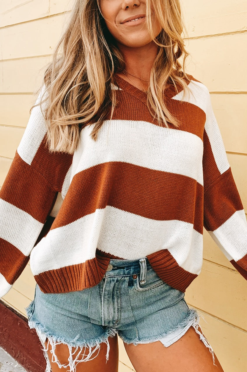 Rust Striped Sweater