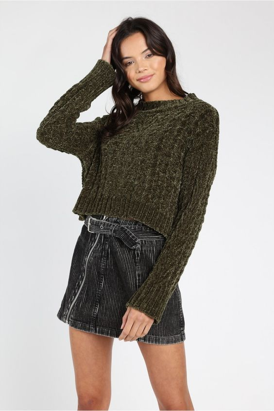 Only You Chenille Forest Green Sweater