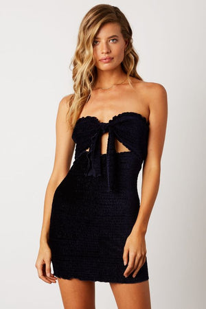 Midnight Blue Velvet Mini Dress