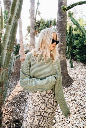 Feelin' Lucky Sage Sweater