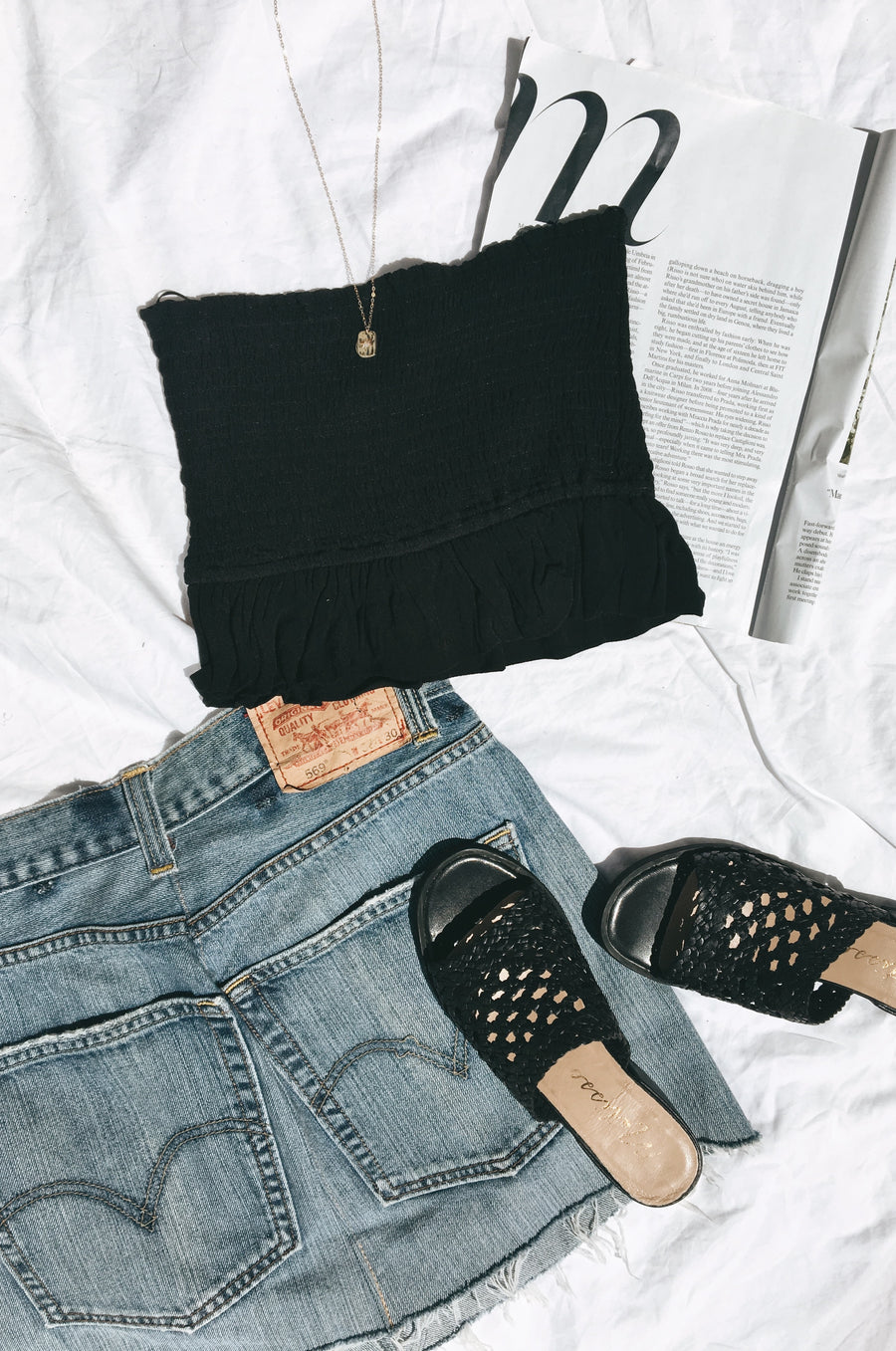 Black Aubrey Rouched Crop Top