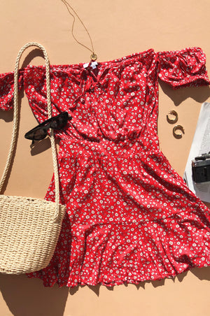 Adeline Red Floral Dress