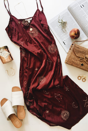 Maroon Constellation Midi Dress