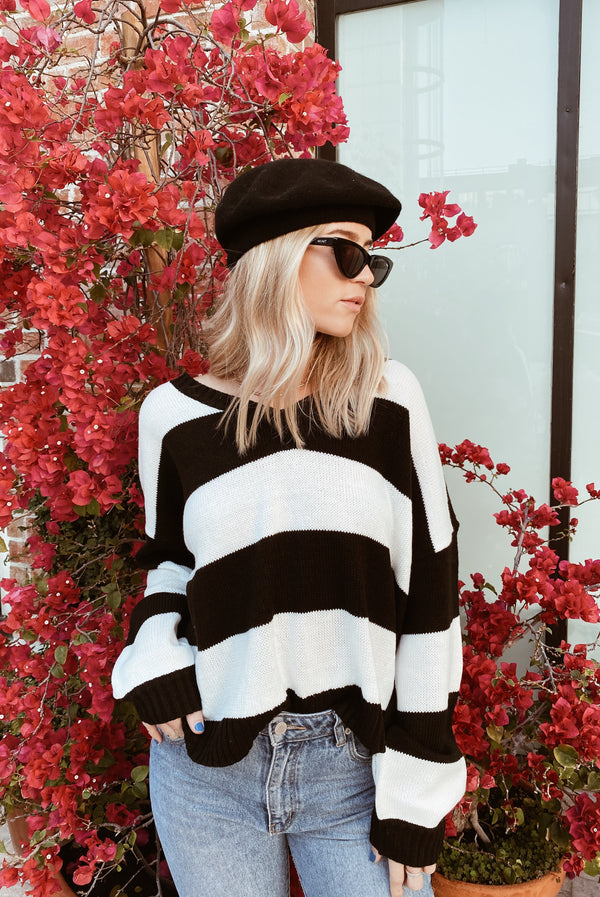 So Bold Black Striped Sweater