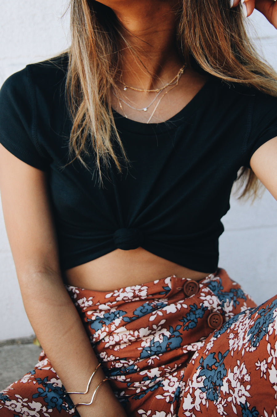 Cam Midnight Teal Cropped Tee