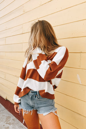 So Bold Rust Striped Sweater