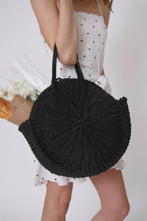 Rosa Black Seagrass Bag by Pamela V