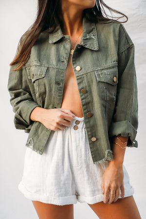 Delia Olive Green Denim Jacket