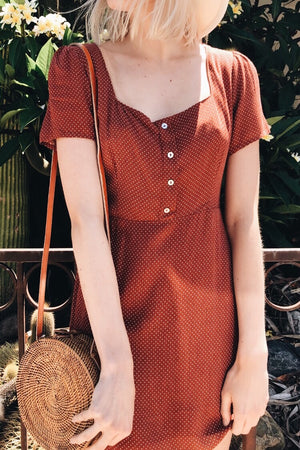 Baton Rouge Rust Polka Dot Dress