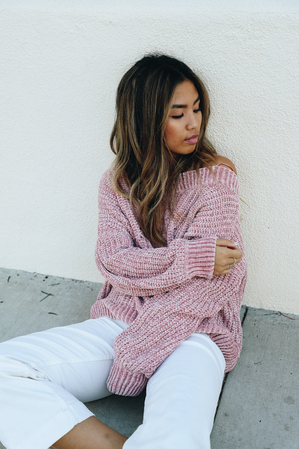 Dusty Pink Chenille Sweater