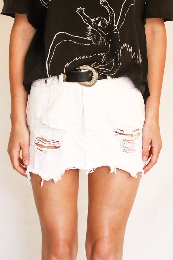 White Fox Denim Skirt