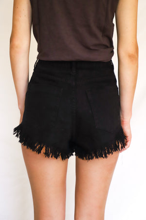Ani Black Denim Shorts