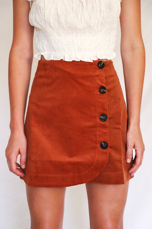 Caden Rust Corduroy Mini Skirt