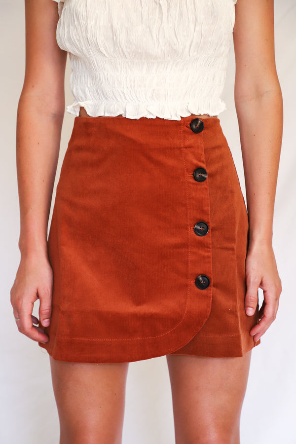 Caden Orange Corduroy Mini Skirt