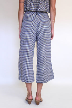 Gingham Cropped Flare Pants