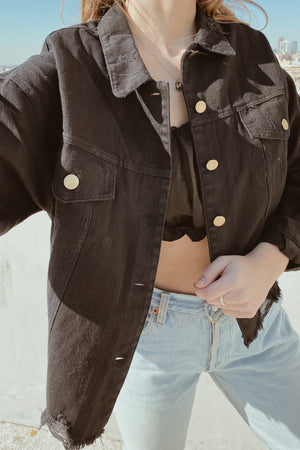 Delia Black Denim Jacket