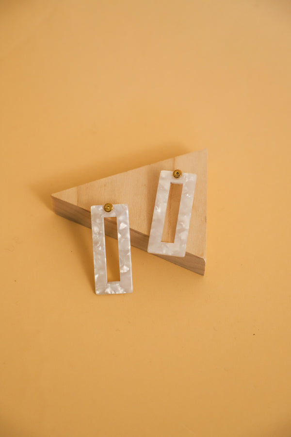 White Acetate Rectangle Earrings