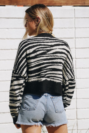 Black Into the Wild Cardigan Sweater