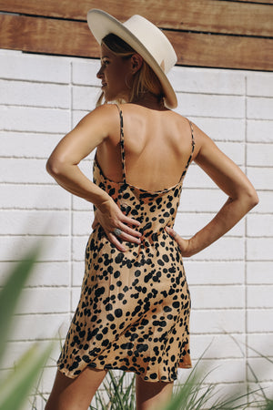 Cheetah Cowl Neck Dress