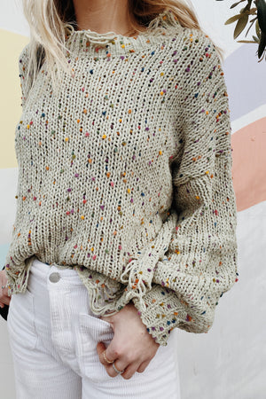 Sage Confetti Knit Sweater