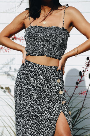 Easy Does It Black Printed Crop Top