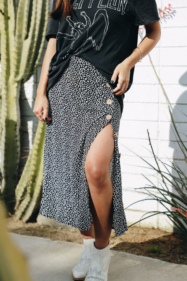 Easy Does It Black Printed Midi Skirt