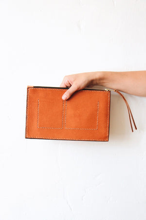 Karla Burnt Orange Clutch by Tribe Alive