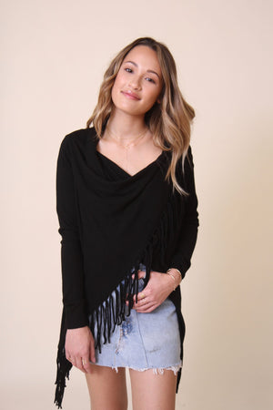 Lisa Fringe Crossover Sweater by Lovestitch