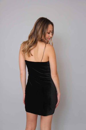 Cascade Black Velvet Mini Dress