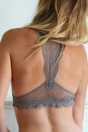 Jules Lace Bralette in Grey