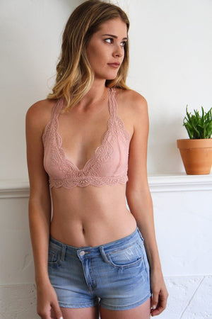 Jules Lace Bralette in Blush