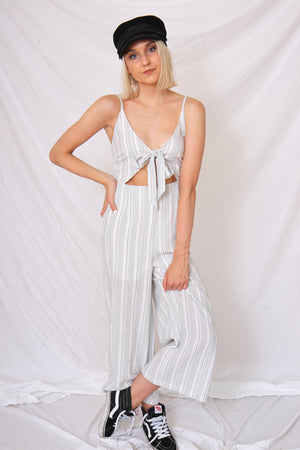 Sage Striped Jumpsuit by MINKPINK