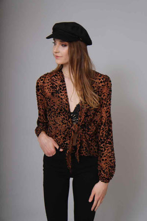 Nellie Cheetah Tie Blouse