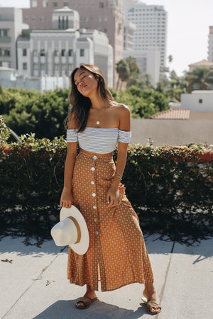 Never Better Mustard Printed Skirt