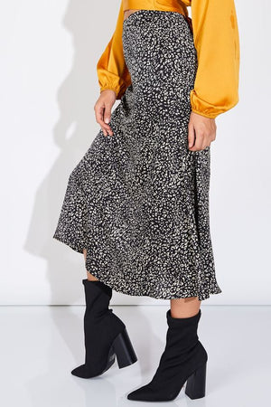 Can't Be Tamed Black Leopard Midi Skirt