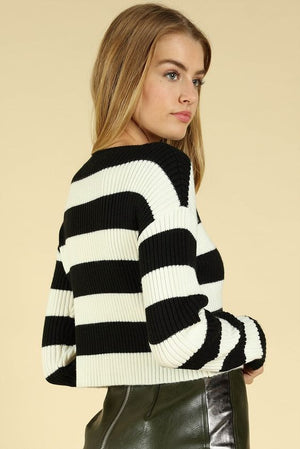 Out of Line Striped Ribbed Sweater