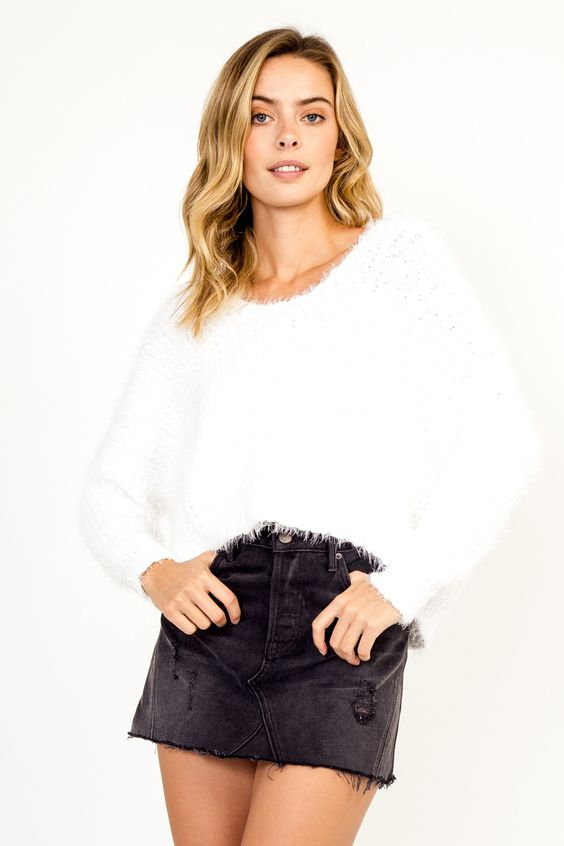 Eaden White Fuzzy Sweater