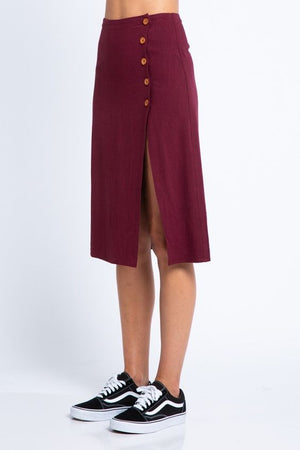 Elise Maroon Button Up Skirt