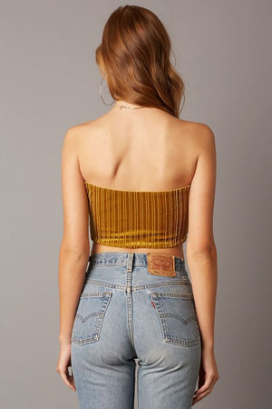 Gold Night Dancer Velvet Tube Top