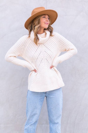 Rainy Day Ivory Turtleneck Sweater