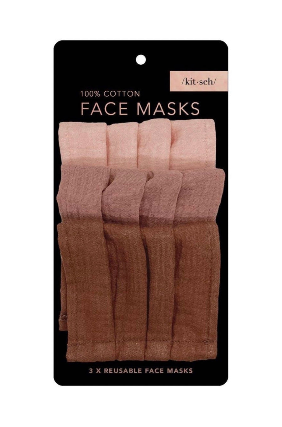 3 Pc Dusty Rose Face Masks by Kitsch