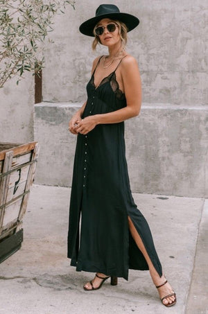 Midnight Lace Slip Maxi Dress