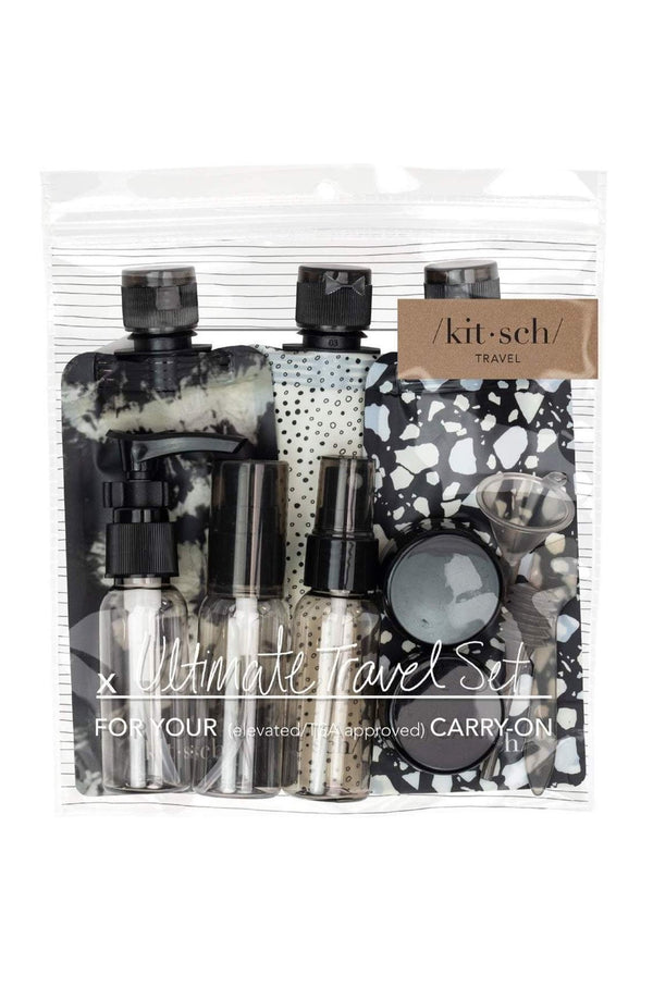 11 Pc Black + Ivory Refillable Ultimate Travel Set by Kitsch