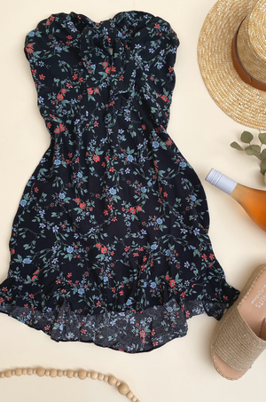 Athena Strapless Floral Mini Dress