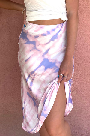 Cotton Candy Tie Dye Midi Skirt