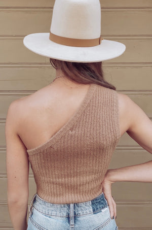 Latte Micro Fuzz One Shoulder Top