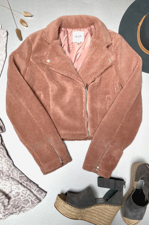 Peach Fuzz Fleece Moto Jacket