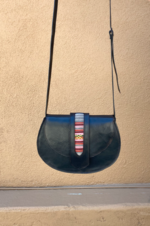 Tarata Cognac Black Vintage Saddle Bag by Pamela V