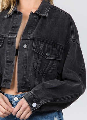 Black Shredded Faded Denim Jacket